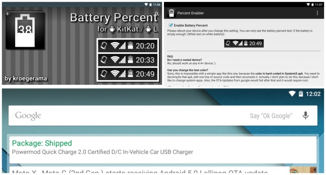 Nexus 9 battery percent enabler