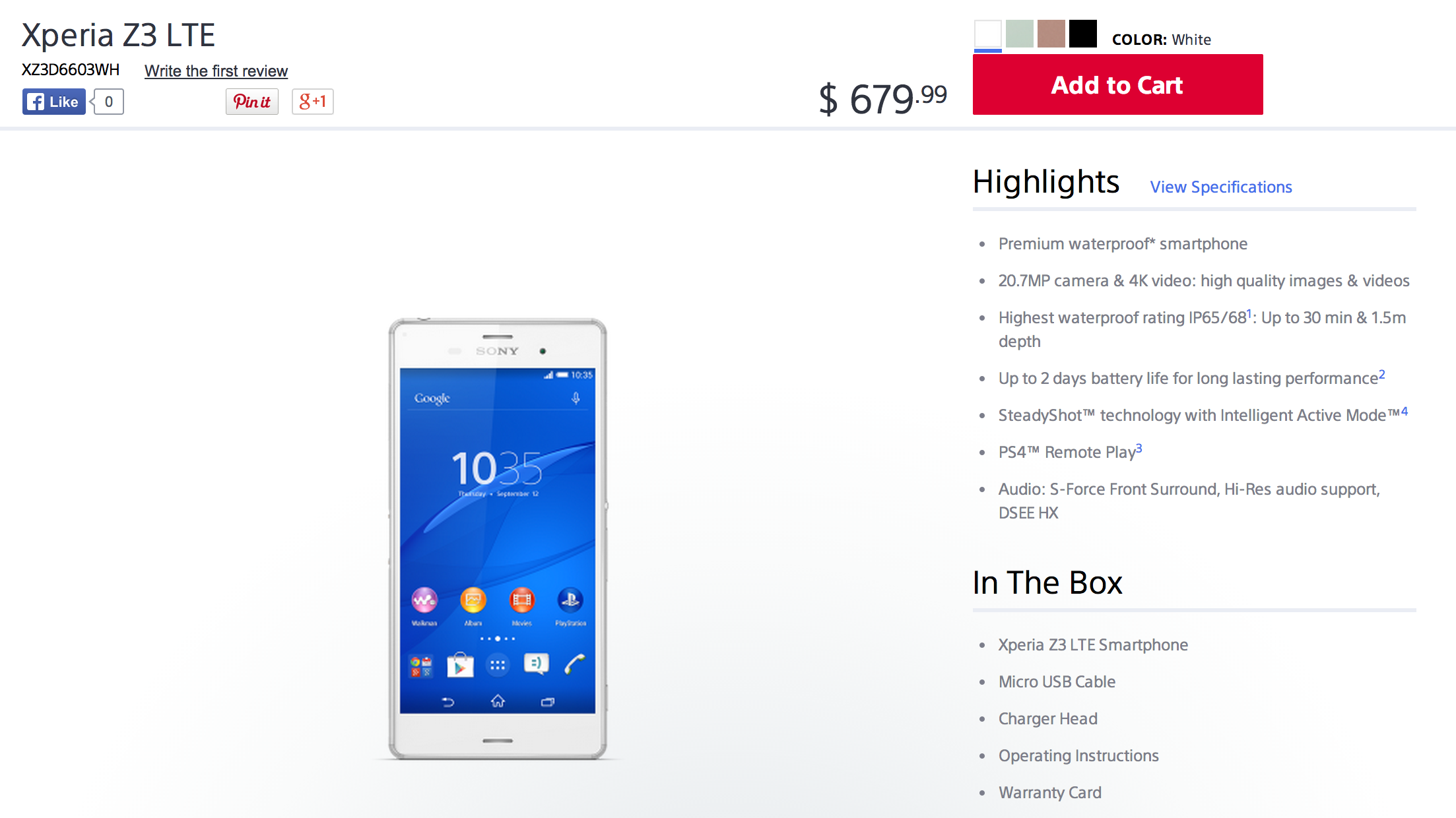 Unlocked Sony Xperia Z3 (AT&T / T-Mobile) now available online