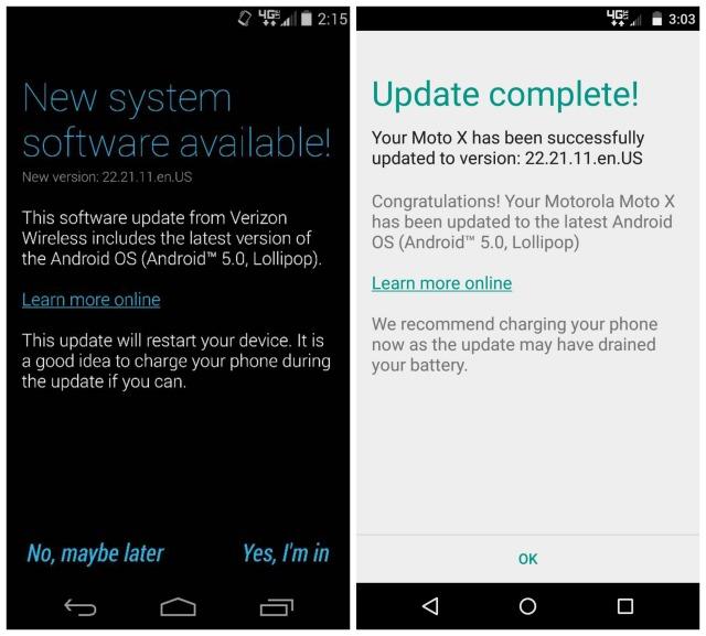 Verizon Moto X Android 5.0 Lollipop update