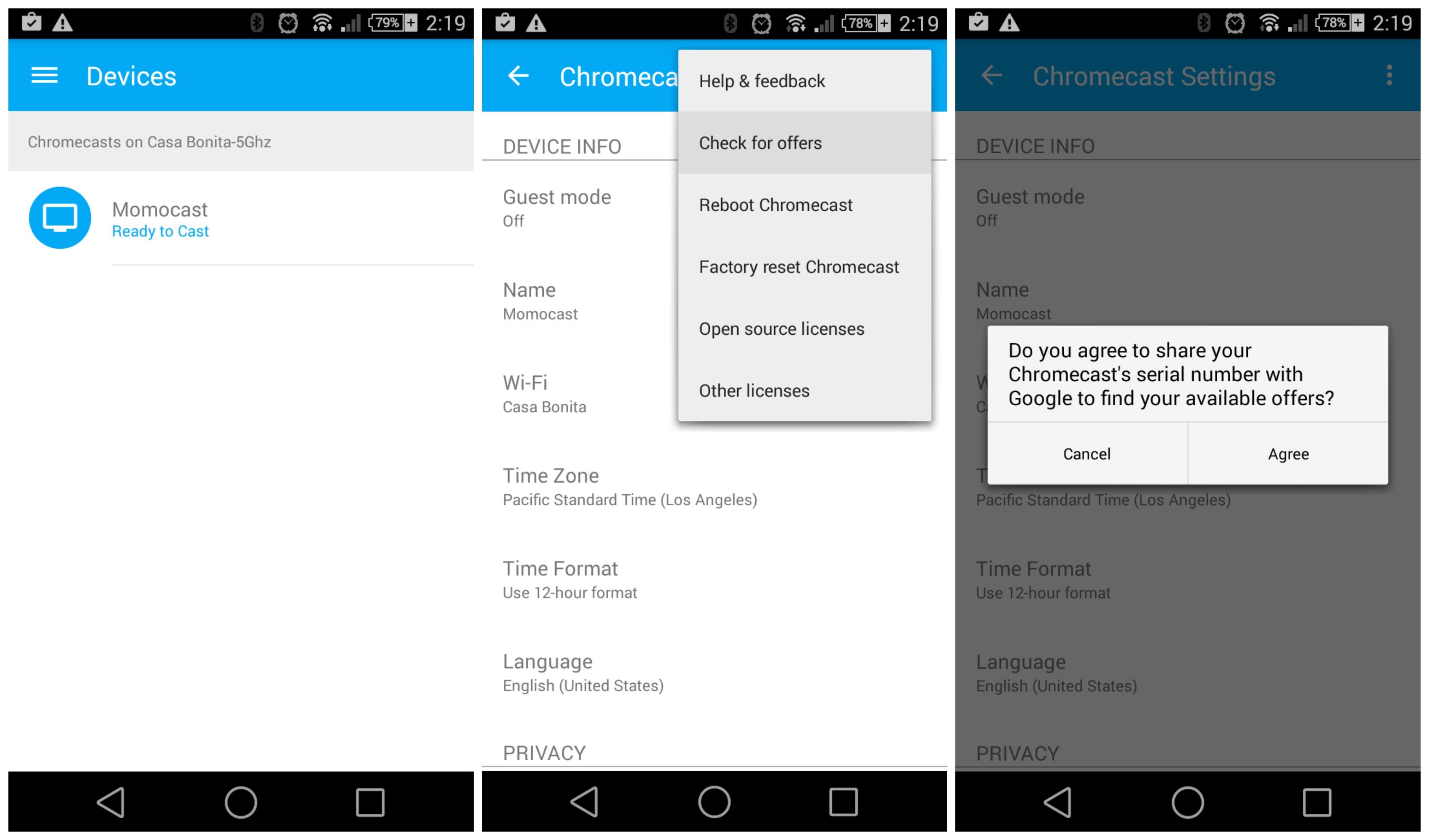 Google Play credit hidden inside Chromecast app