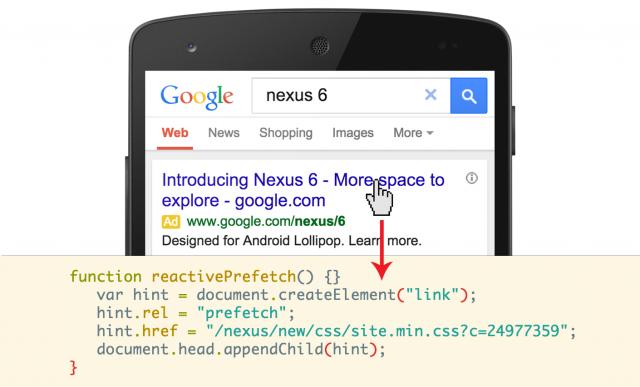 Google Search Chrome reactive-prefetch