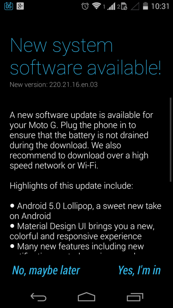 Moto G 2013 Android 5.0 Lollipop 2
