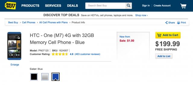 Blue HTC One Best Buy