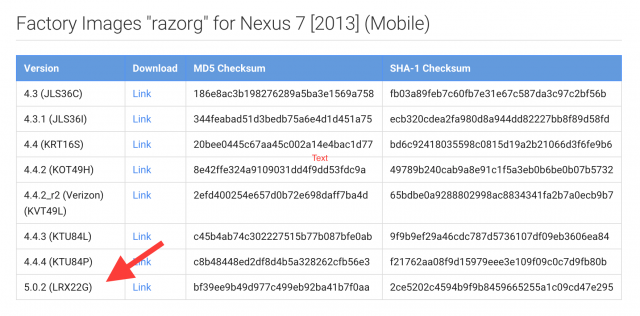 Nexus 7 2013 LTE Android 5.0.2 image