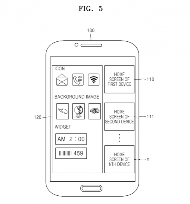 samsung home screen patent