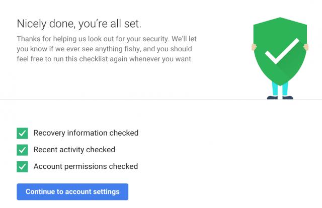 Google Checkup checklist