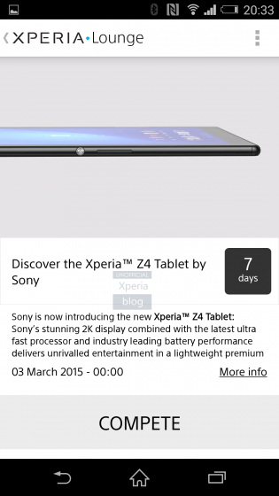 Sony Xperia Z4 Tablet leak Xperia Lounge app