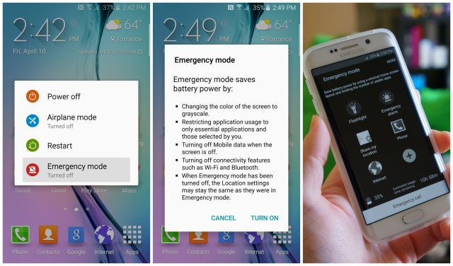 Samsung Galaxy S6 Emergency mode