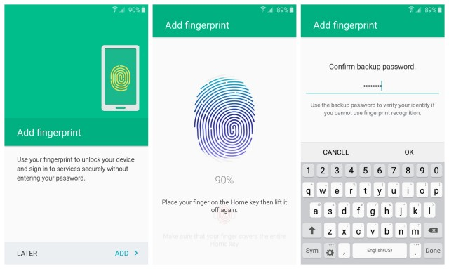 Samsung Galaxy S6 fingerprint setup