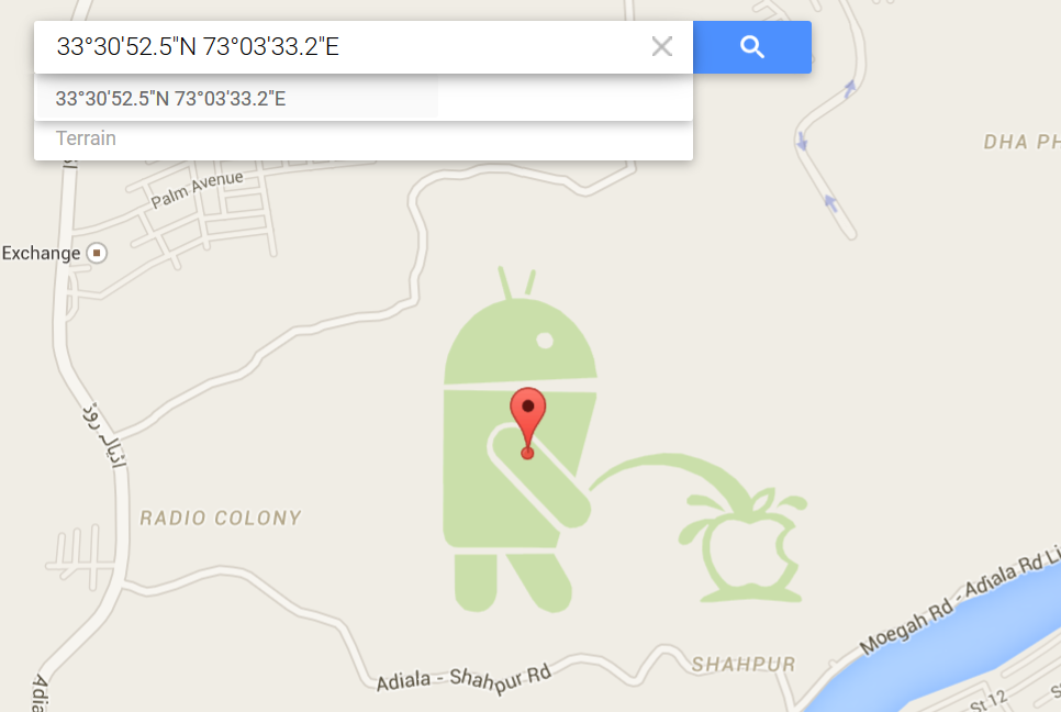 There's a giant Android robot on an Apple logo in Google ... on
