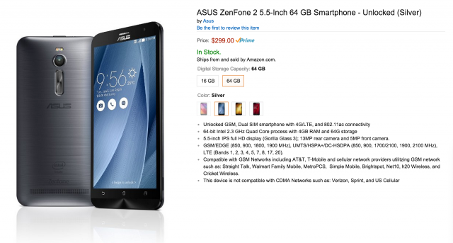 Amazon ASUS ZenFone 2 now available