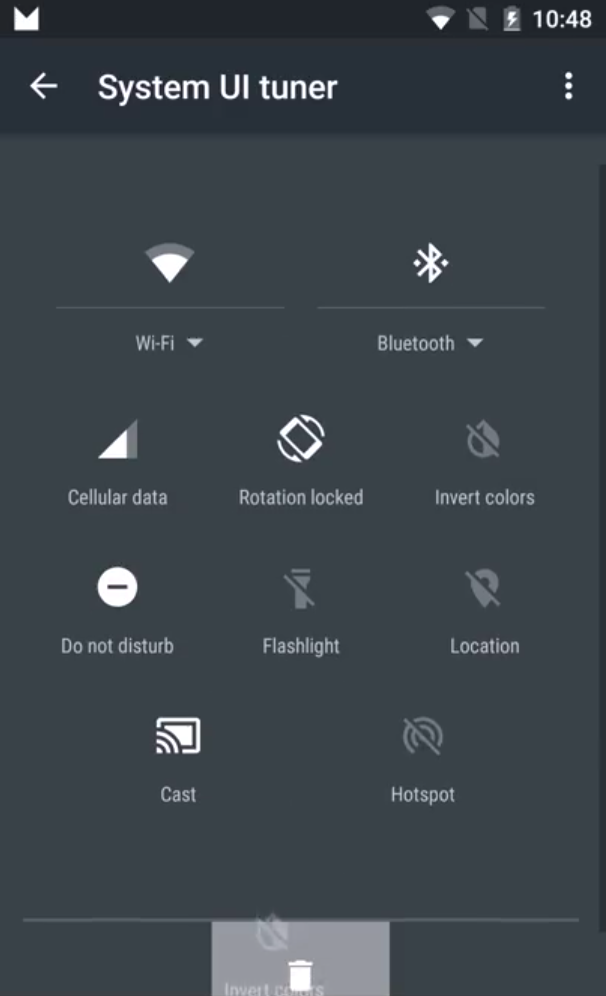 Android M System UI tuner quick settings