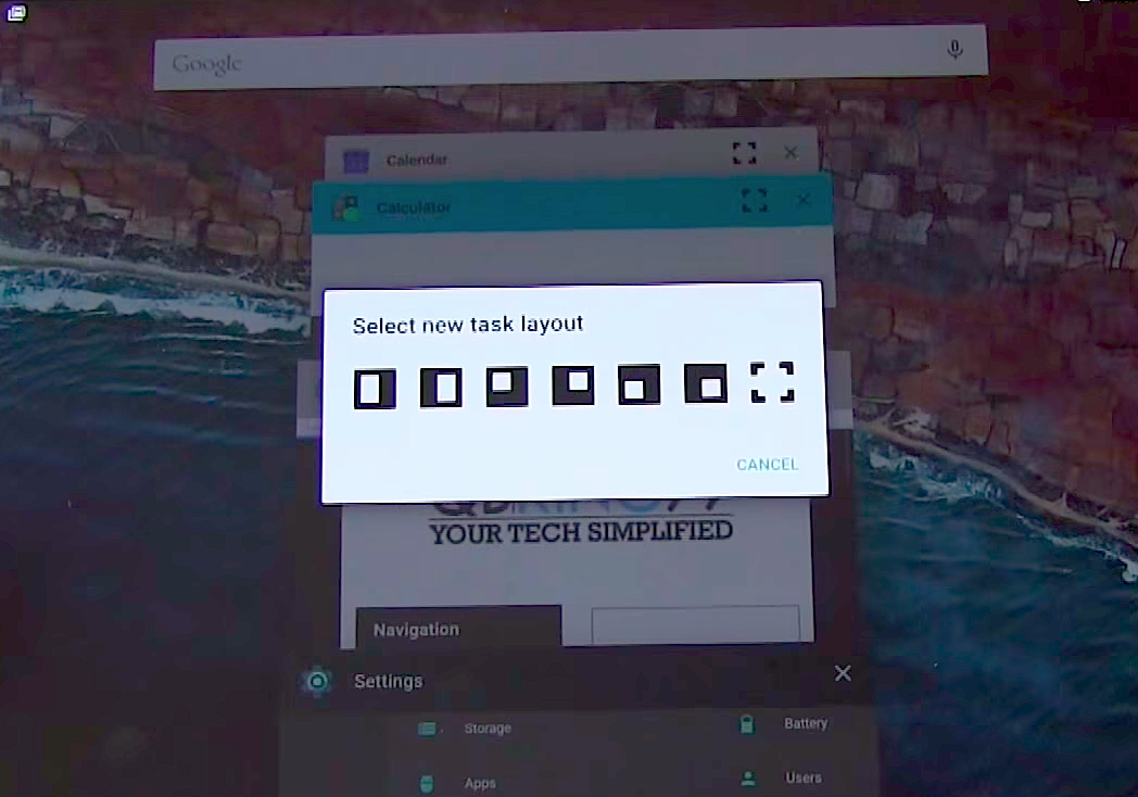Android M tablet features: split keyboard and multi-window