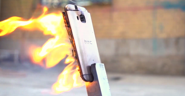 HTC One M9 flame thrower test