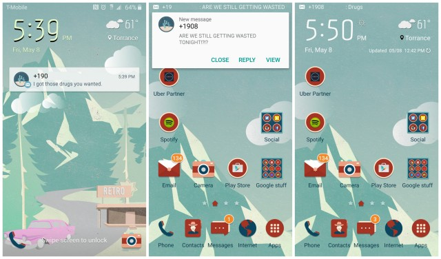 Samsung Galaxy S6 popup notification messages ticker