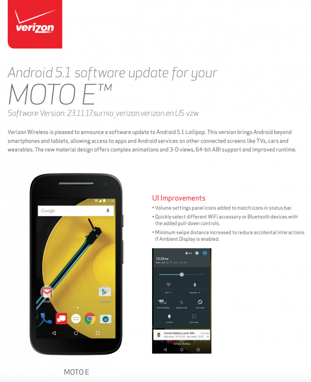 Motorola Moto E 2015 Android 51 Lollipop Verizon