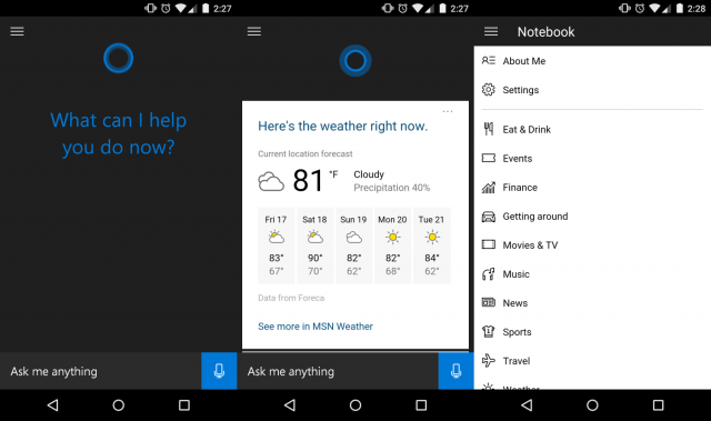 cortana screens