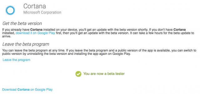 Cortana beta Google Play