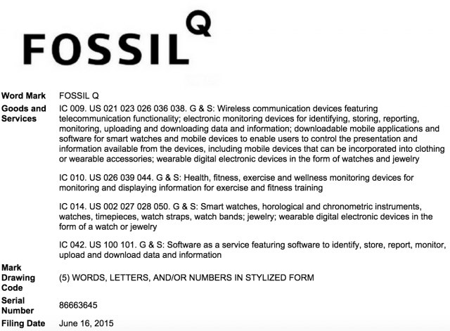 Fossil Q trademark USPTO filing