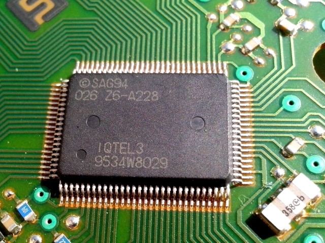 Large computer chip on the board