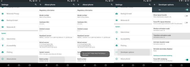 Moto X Pure Edition Developer Options