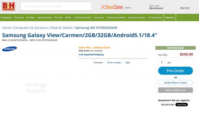 Samsung Galaxy View BandH listing