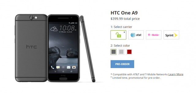 htc one a9 preorder