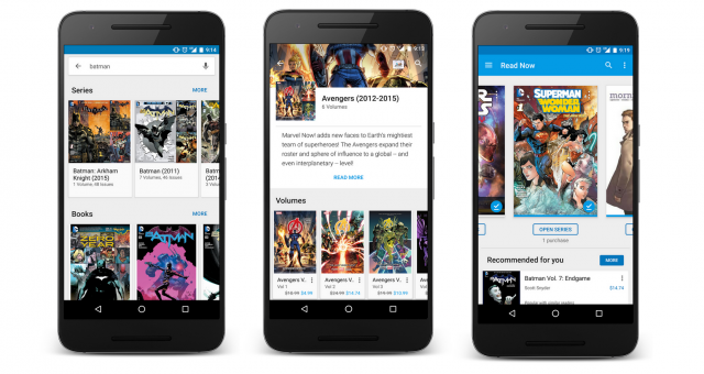 Google Play Books comic book update