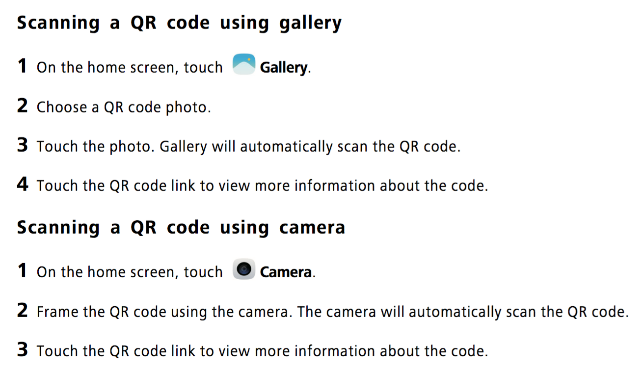 How to scan a QR code using the camera or gallery app