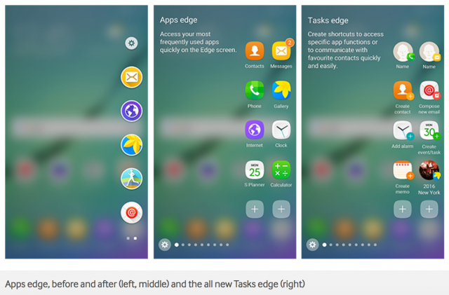 Samsung Android 6.0 Marshmallow Galaxy Edge screen update - Apps Tasks edge