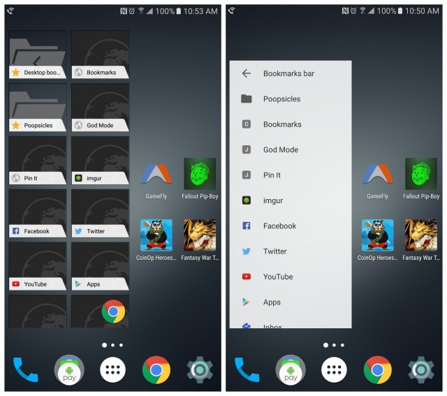 Chrome new bookmarks widget Material