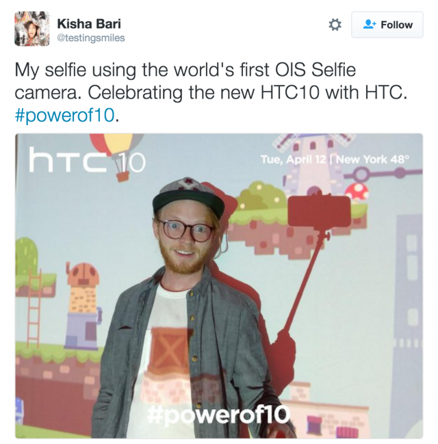 HTC 10 leaked selfie tweet front camera OIS