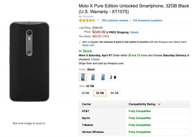 Motorola Moto X 2015 deal Amazon 350