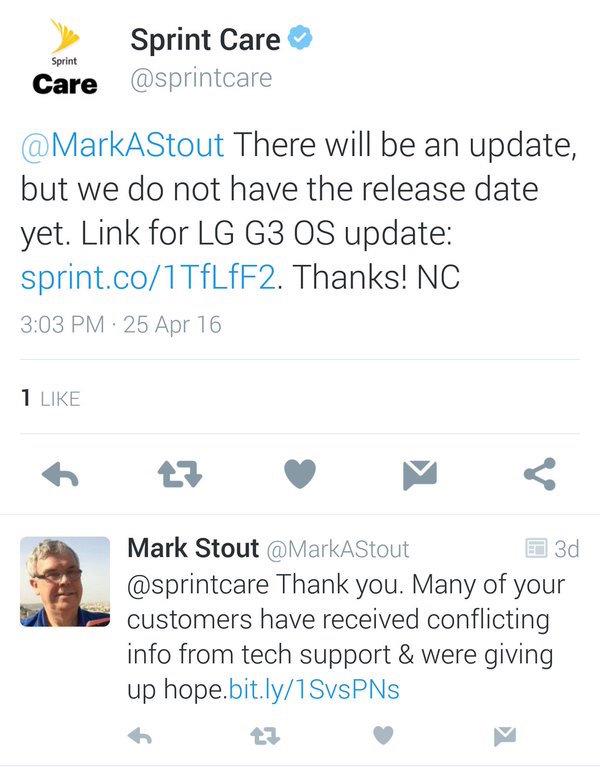 Sprint LG G3 Marshmallow tweet