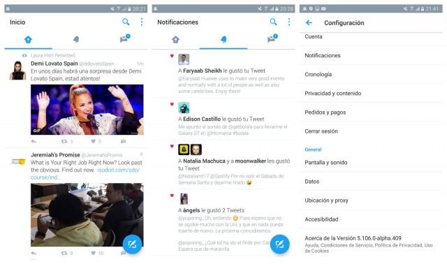 Twitter Alpha Material Design UI update