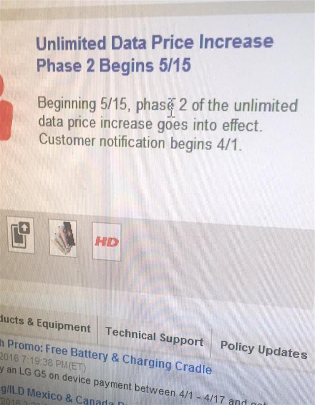 Verizon unlimited data price increase Phase 2