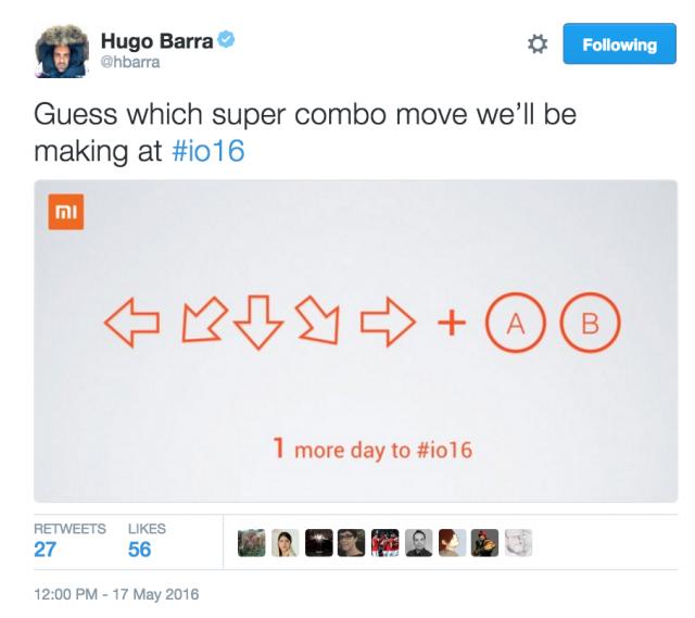 Hugo barra Tweet Xiaomi Google IO 2016