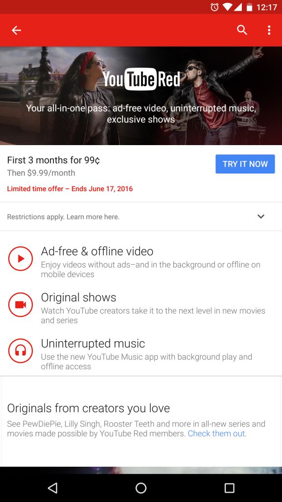 DEAL: Get 3 months of YouTube Red for less than $1