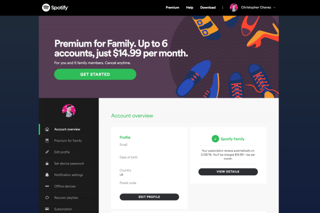 Spotify Account Overview page
