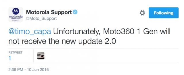 Moto 360 2014 Android Wear 2.0 update tweet
