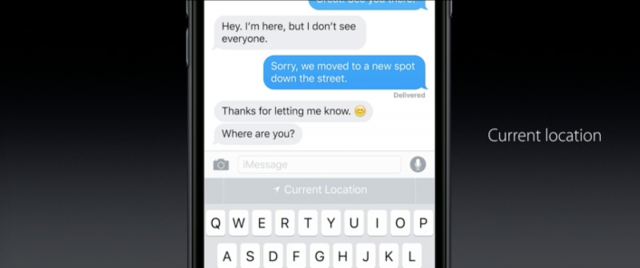 iOS 10 Quick Type location