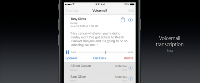 iOS 10 Voice Mail transcription