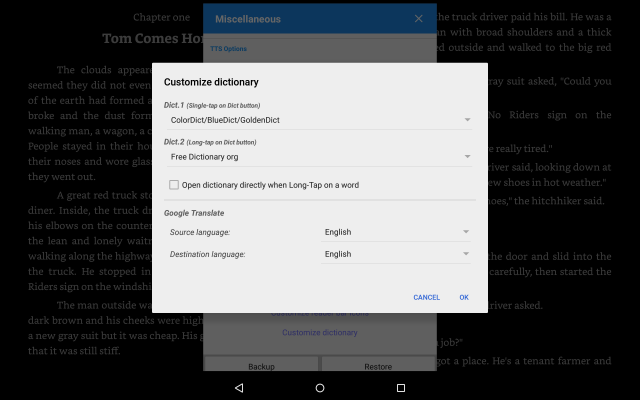 How to get a pop-up dictionary enabled in Moon Reader