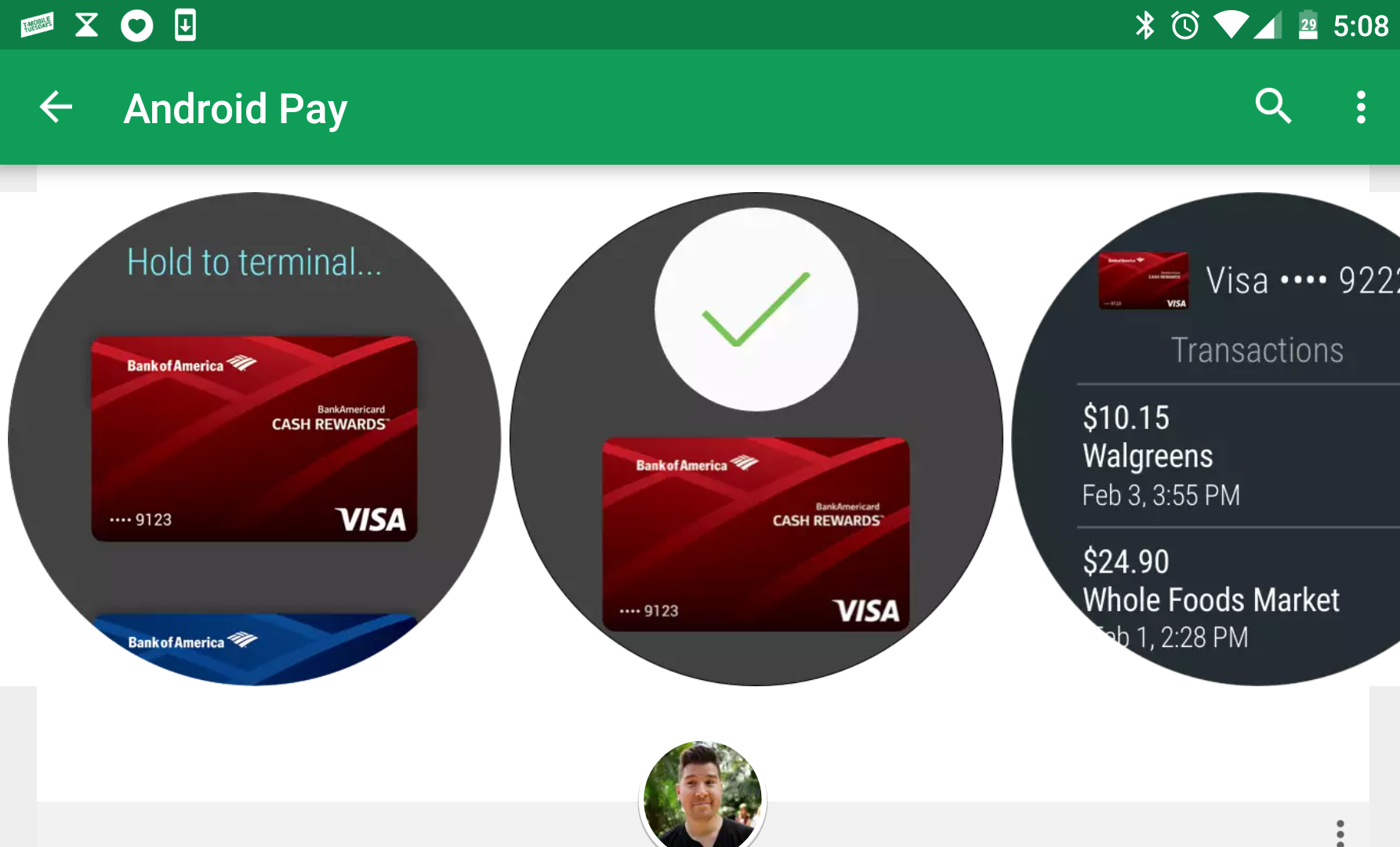 Leaked screenshots show Android Pay on Android Wear 2 0