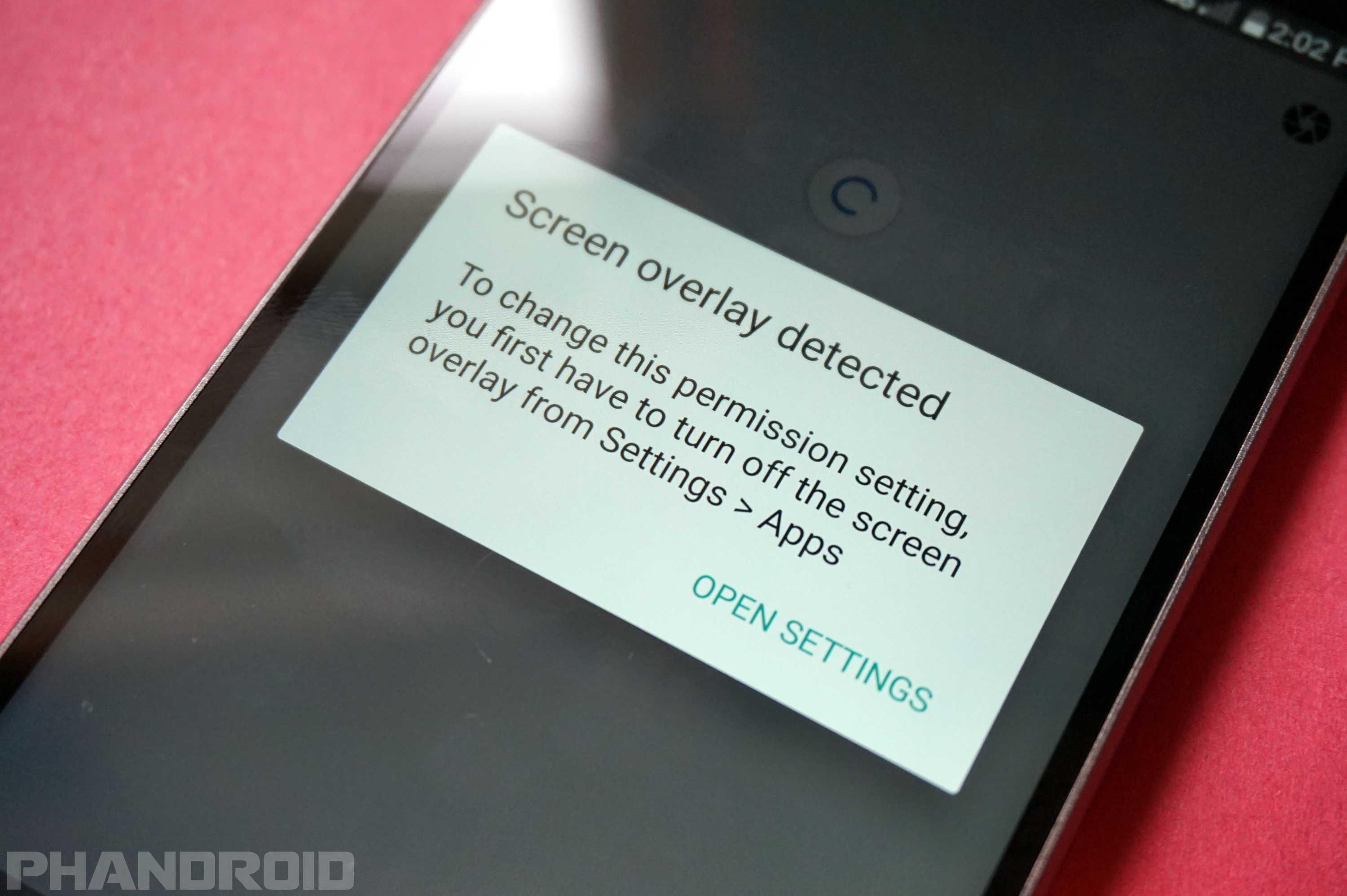 How to turn off screen overlay on Android