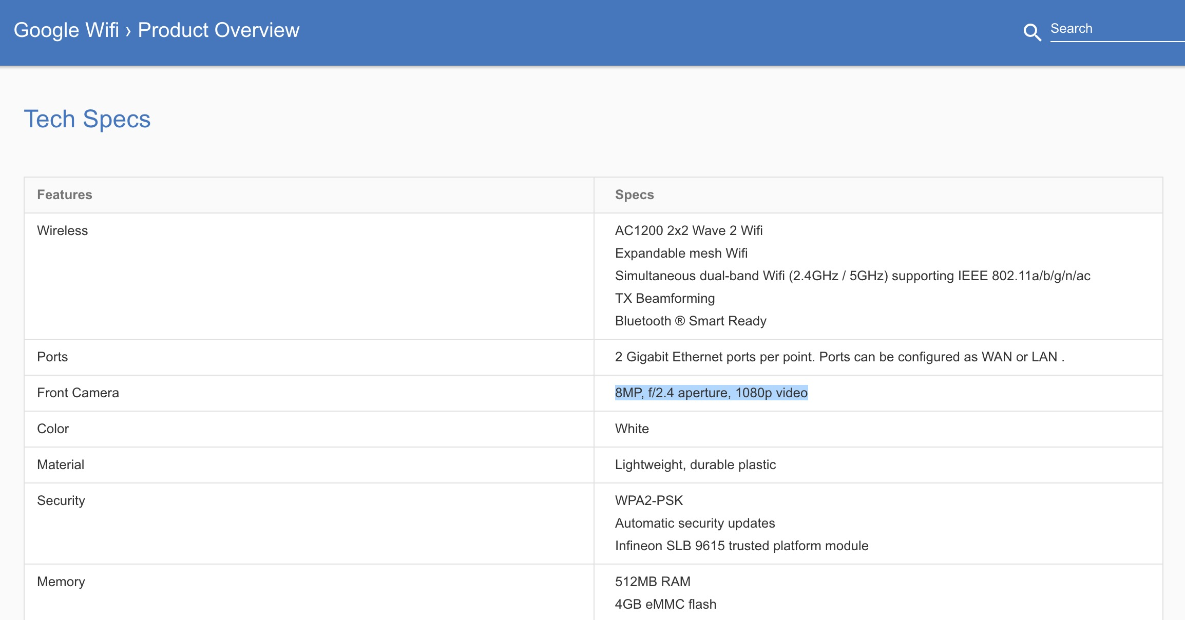 Google WiFi hardware page lists 8MP camera feature
