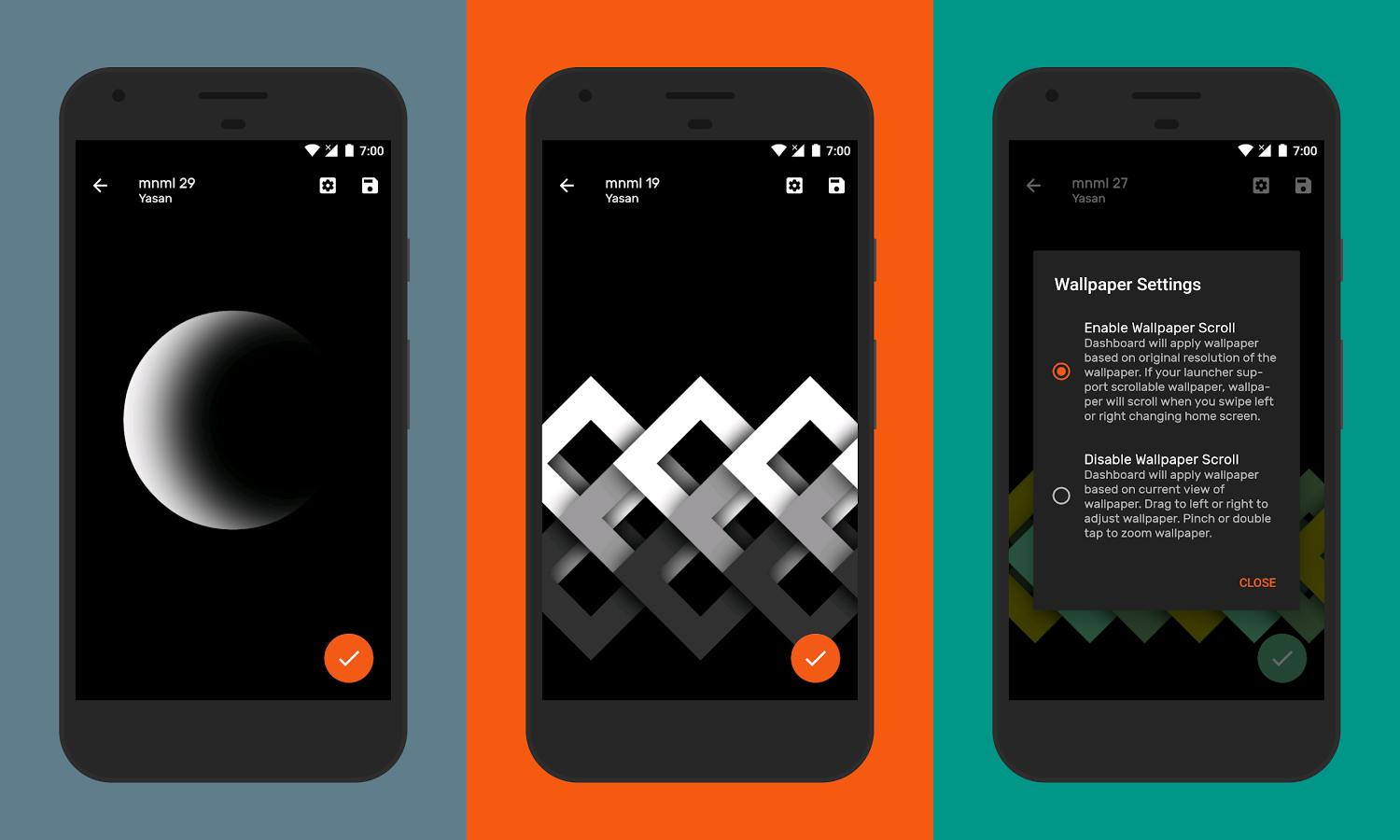 AMOLED mnml is an open source cloud-based wallpaper app with lots of minimalistic wallpapers designed for AMOLED Displays.