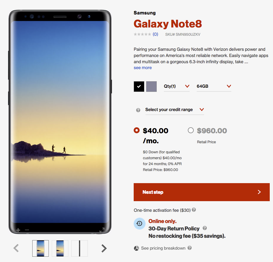 6fe26c51274 The Galaxy Note 8 is priced at  40 per month for 24 months