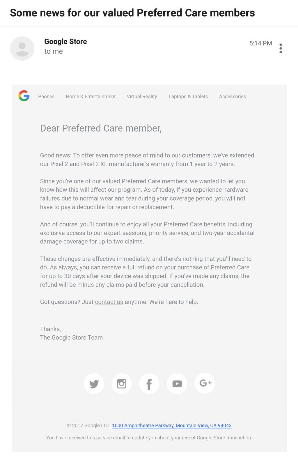 Google removes Preferred Care deductible for the Pixel 2 and