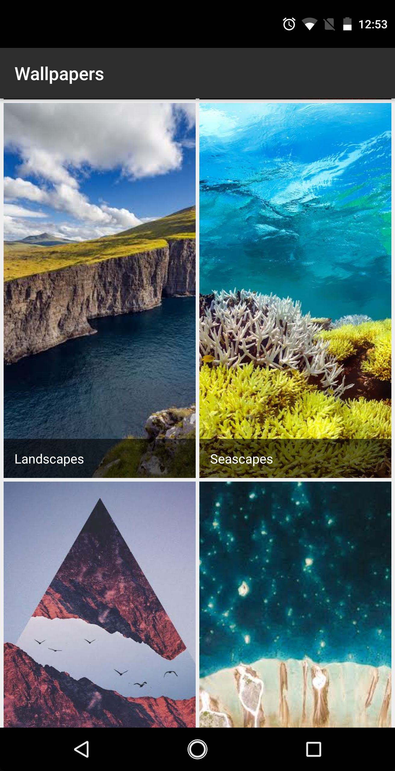 All you need to do is download the app from the Google Play Store, open it, and you'll find nestled in between Landscapes and Art for beautiful wallpapers ...